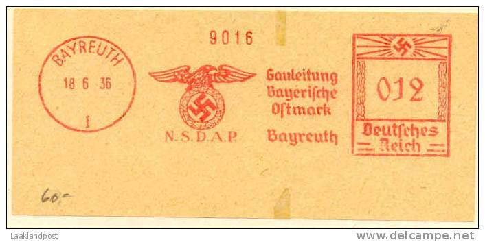 Germany Top Meter N.S.D.A.P. Bayreuth 18-6-1936 Bird Of Prey - Águilas & Aves De Presa