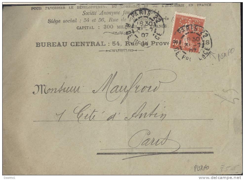 Enveloppe  Avec Timbre Perforé  Type Semeuse   1907 - 1877-1920: Semi-Moderne