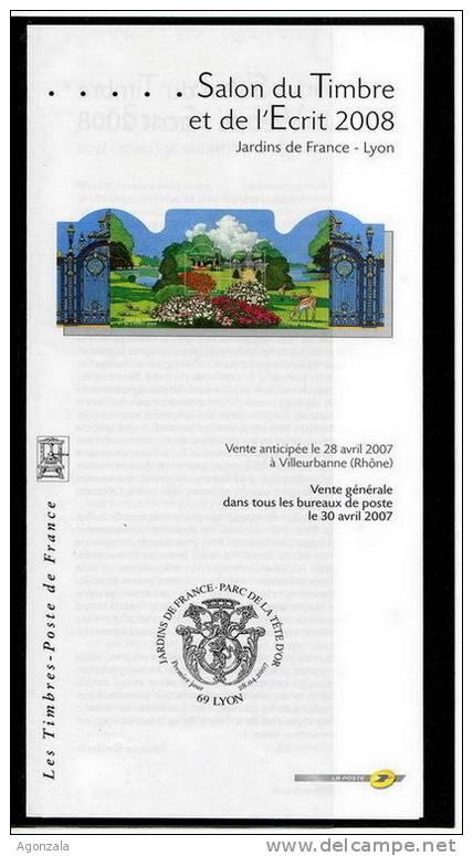 DOCUMENT EMISSION TIMBRE -  SALON DU TIMBRE ET DE L´ECRIT - JARDINS DE FRANCE PARC DE LA TETE D´OR - FRANCE - Documentos Del Correo