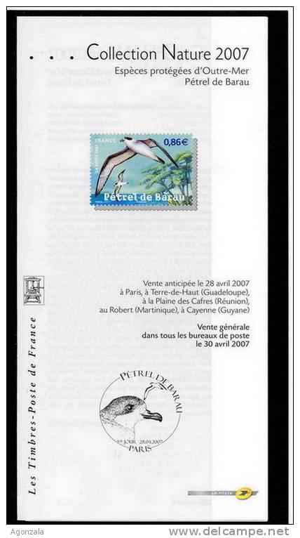 DOCUMENT EMISSION TIMBRE -  COLLECTION NATURE ESPECES PROTEGEES D´OUTRE-MER PETREL DE BARAU - FRANCE - Documentos Del Correo