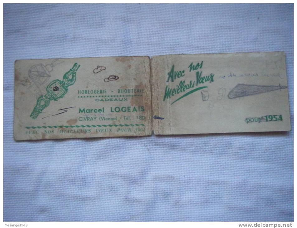 Calendrier 1954 Horlogerie Marcel Logeais    Civray - Calendriers