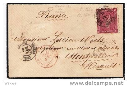 Spk063/  - SPANIEN -Edifil 166a, Variante De Color (Farbvarianten) La Junquera 1876 - Briefe U. Dokumente