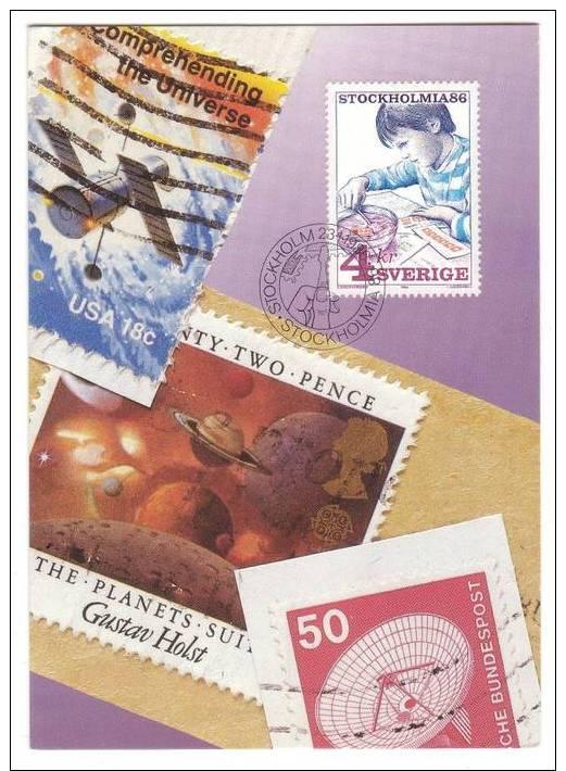 Frimärket  ´SAMLAREN´ - The Stamp Collector  - 1985   (Carte Maximum) - Maximum Cards & Covers