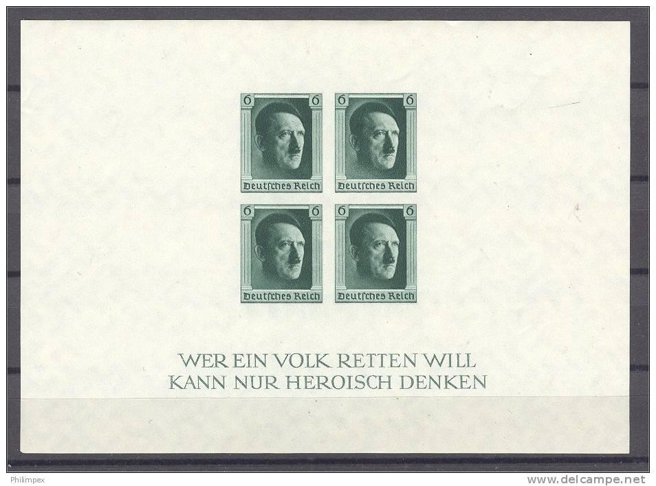 GERMANY REICH, HITLER IMPERFORATED SOUVENIR SHEET, VF NEVER HINGED! - Blocks & Kleinbögen