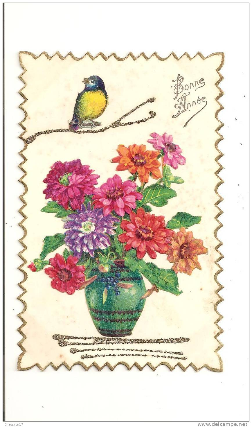 BONNE  ANNEE  -    Vase De Fleurs Et Oiseau  Collés Sur Une Carte - Año Nuevo