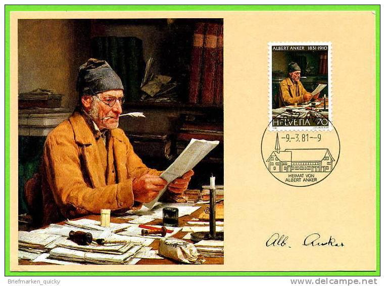 93199) Schweiz - Michel 1193 - MK/MC Maximum-Karte - Albert Anker, Gemälde - Maximumkarten (MC)