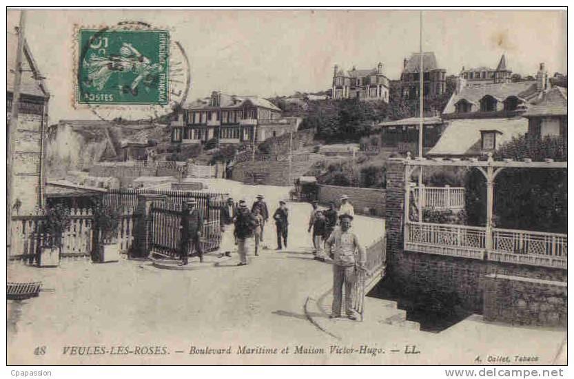 VEULES-les-ROSES - Bd Maritime Et Maison Victor-Hugo -1909-Paypal Sans Frais - Veules Les Roses