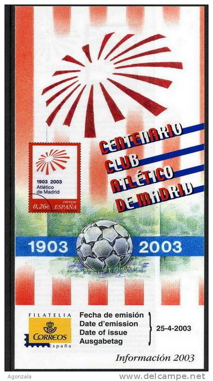 DOCUMENT INSTRUCTIF ÉMISSION TIMBRE ESPAGNE  - CENTENAIRE CLUB FOOTBALL ATLETICO MADRID - Fútbol