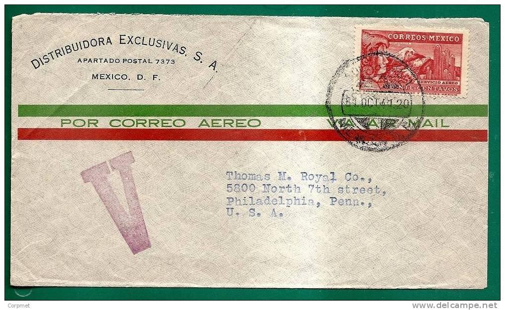 AZTECAS - AZTEQUE - POPOCATEPETL Et Seigneur Aigle  - MEXICO 1941 COVER  Yvert # A63 Solo Stamp - Cancel V Large Violet - Kostüme