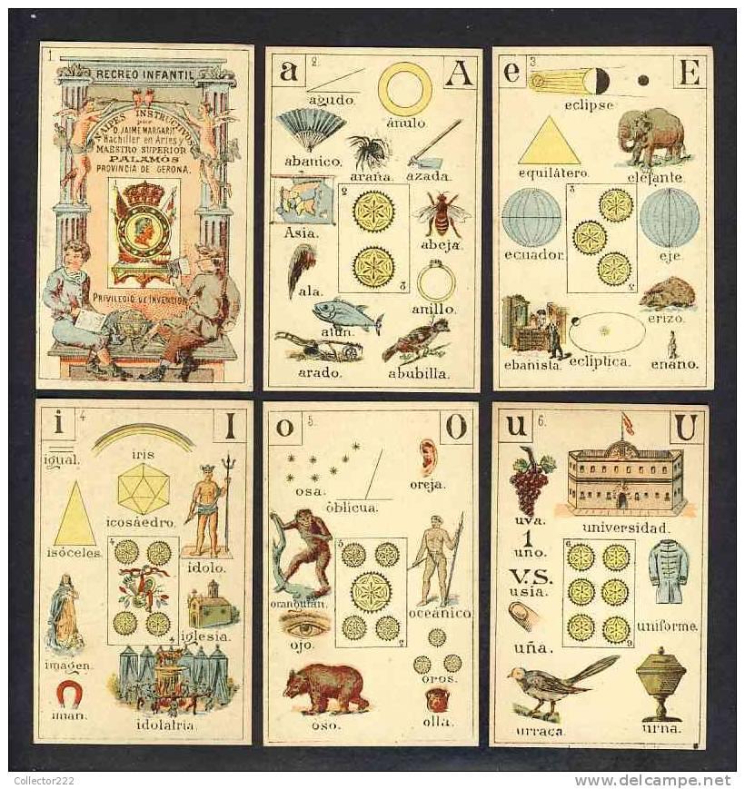 Jeu Complet De 48 Cartes RECREO INFANTIL De PALAMOS En Catalogne. 1888 (Ref.67859) - Non Classés