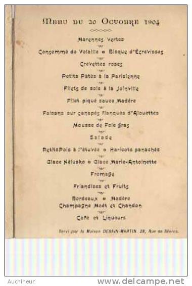 Carte Menu Couverture Coquelicots Gaufrée - 20 Octobre 1904, Servi Par La Maison Debain-martin 28, Rue De Sèvres - Menu