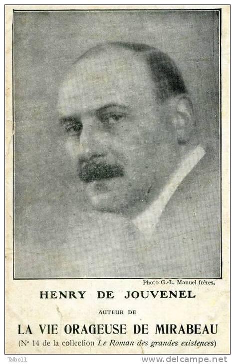 Librairie Plon- Henri De Jouvenel - Auteur De La Vie Orageuse De Mirabeau; Photo Manuel Frères - Philosophie & Pensées