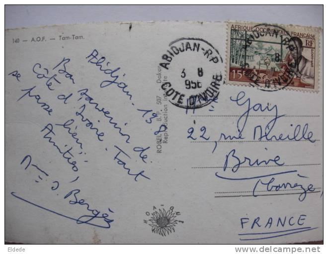 Tam Tam  Carte Photo  Voyagé Abidjan 1956  Robel - Côte-d'Ivoire