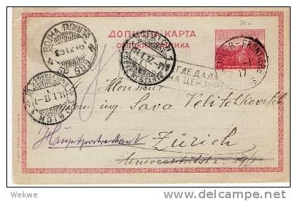 Ser026/- SERBIEN - Feldpost (Bahnpost) 999, 1917 Per Pontabir Frontier. - Serbien