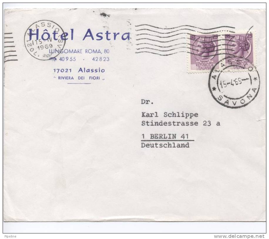 Italy Cover Sent To Germany Alassio Savona 15-4-1969 - 1946-.. République