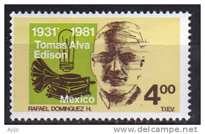 Mexique. Physicien Thomas Edison (lampe,phonographe).  1 T-p Neuf ** - Mexique