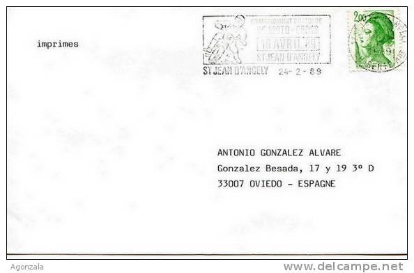 ENVELOPPE OBLITEREE - ST JEAN D´ANGELY 1989 CHAMPIONNAT DU MONDE DE MOTO CROSS - Motos