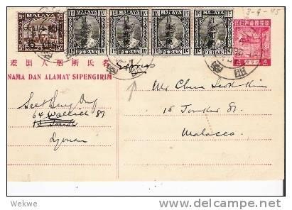 Mly044a/ MALAYSIA -  Perak Jap. Ganzsache + Überdruck Nach Der Kapitulation Verwendet! - Grande-Bretagne (ex-colonies & Protectorats)