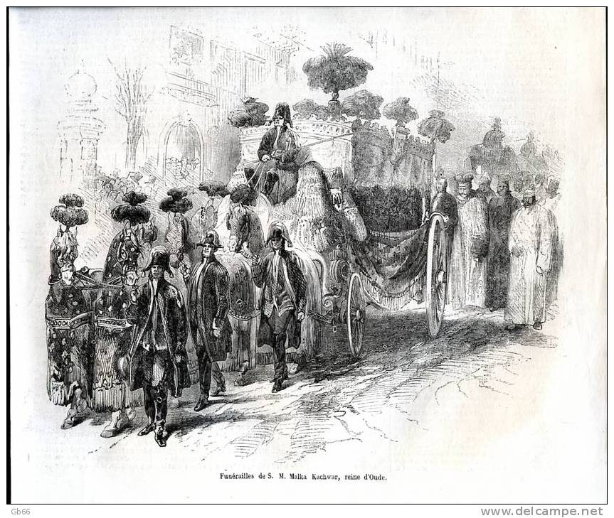 Funérailles De S.M. Malka Kachwar, Reine D´Oude         Gravure      1858 - Old Paper