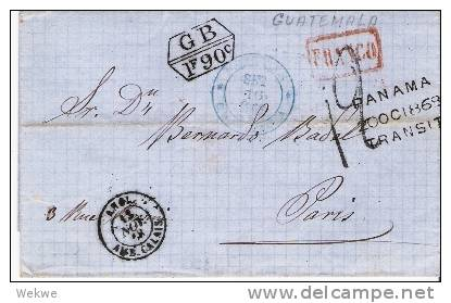 Gua011a/  Guatemala Franko Paris, Brit. P.A. 1868 Via Panama TRANSIT (Brief,  Cover, Letter, Lettre) - Guatemala