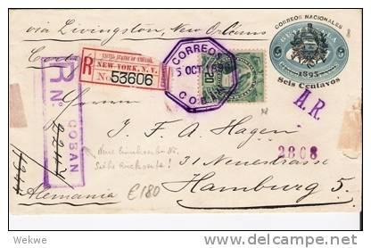 Gua089/ U 8 + 20 Cent. Quezal 1896 Nach Hamburg, Einschreiben AR - Guatemala