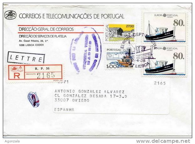 ENVELOPPE OBLITEREE RECOMMANDE - 1988  EUROPA CEPT MADERA PORTUGAL BATEAU CARREIREIRO - Telecom