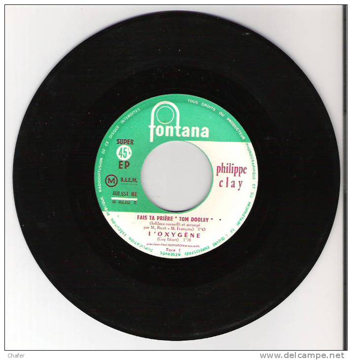 Vinyle 45 Tours  - Philippe Clay - Bleu Blanc Rouge - Fontana 460.654 - Disco, Pop