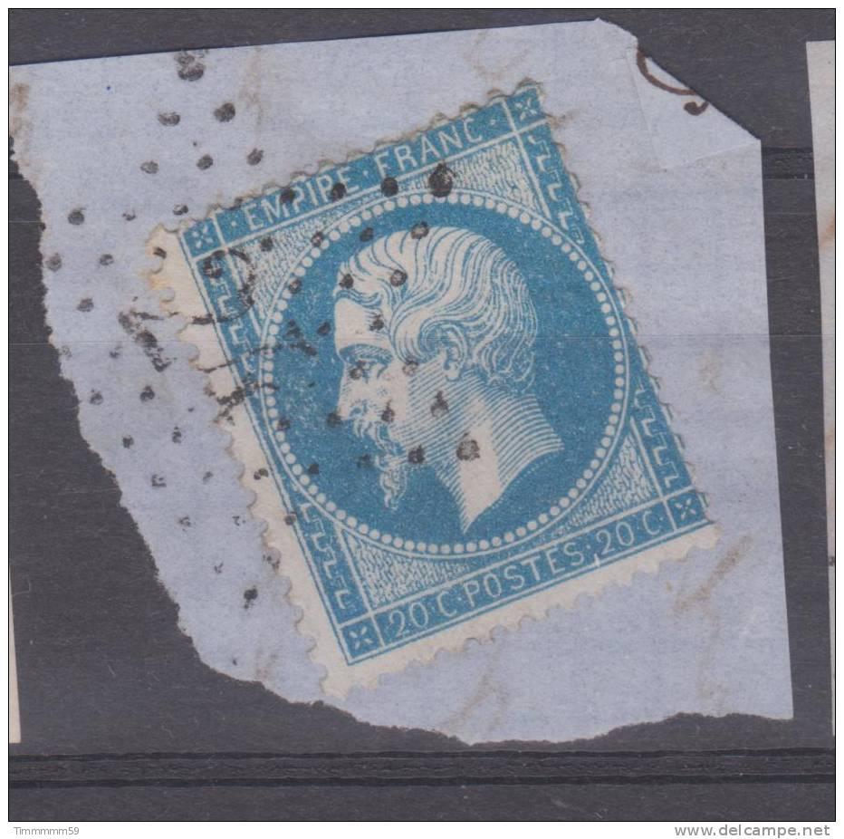 Lot N°7438  N°22/fragment, Oblit étoile Chiffrée 24 R. DE CLERY - 1862 Napoleon III