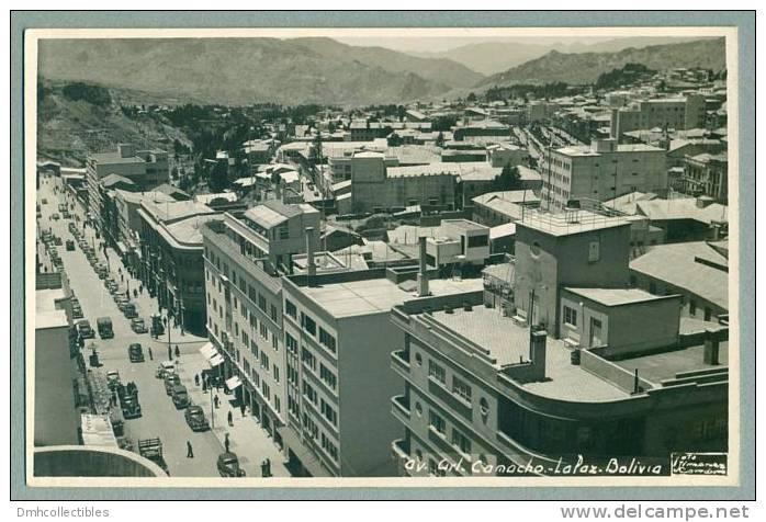 La Paz BOLIVIA 1940s Street Town View Vintage Topographic Real Photo Postcard RPPC (O-12) - Bolivie