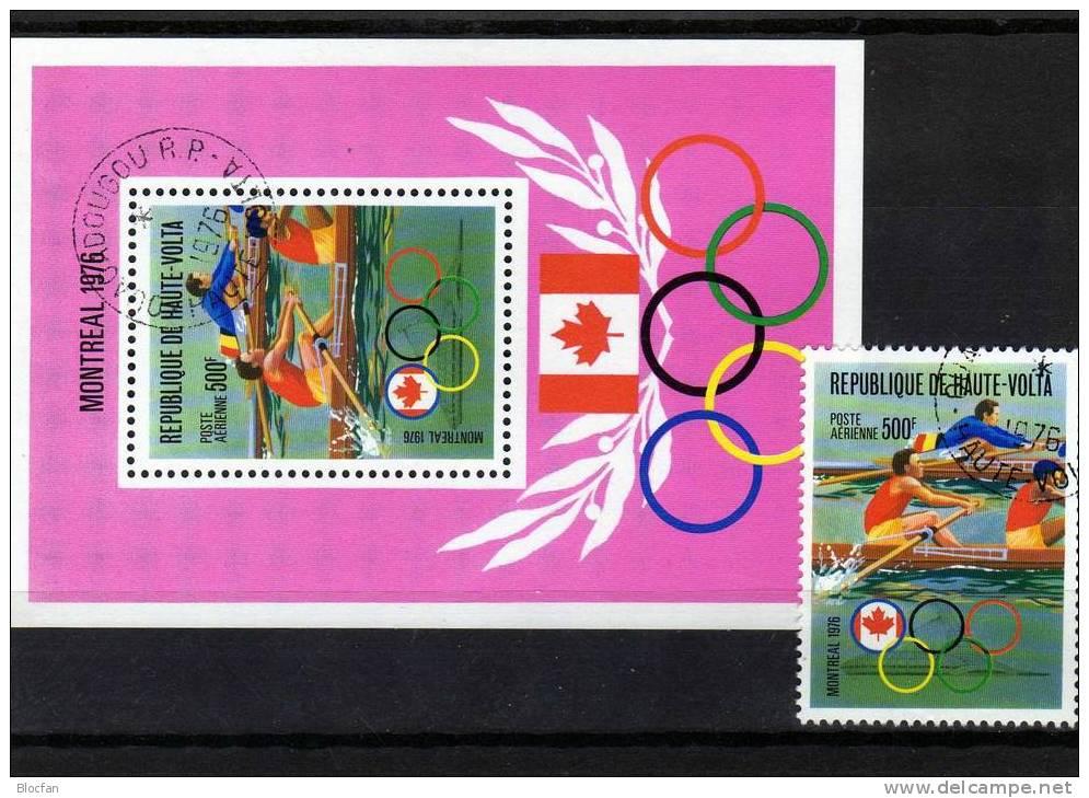 Olympic Montreal Rudern Sommer - Olympiade 1976 Obervolta 622 + Block 41 O 5€ - Obervolta (1958-1984)
