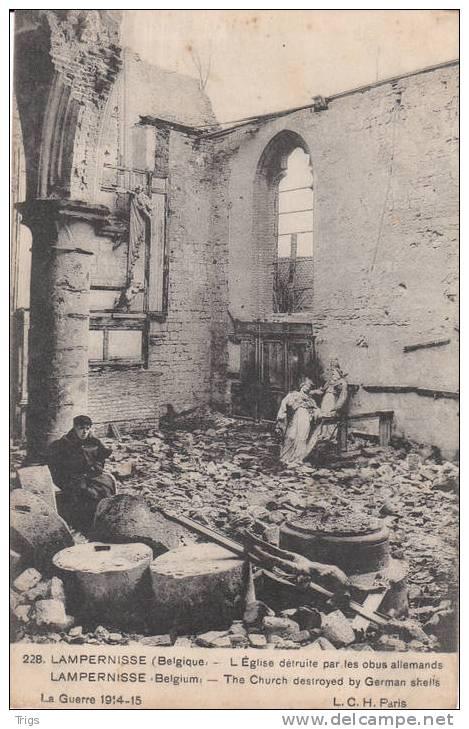 Lampernisse - L'église Détruite Par Les Obus Allemande - Diksmuide