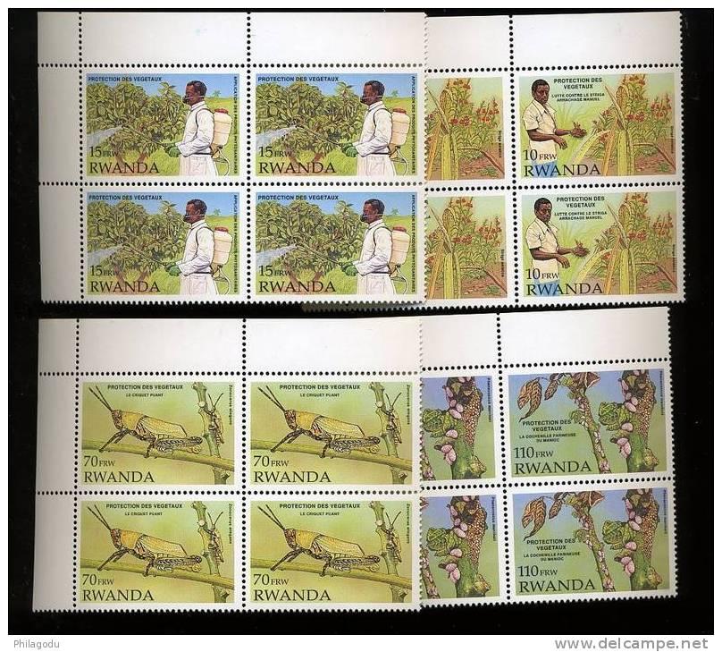 1993  ++  Insecte Nuisible ++ 4 X RWANDA 1399/1402** Postfrich  Cote 320 Euros - 1990-99: Neufs