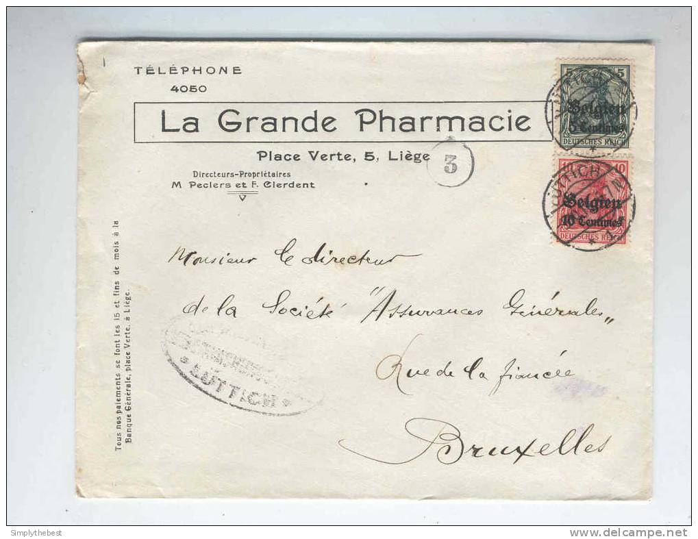 BELGIQUE - Lettre TP Germania LIEGE 1917 Et Censure - Entete La Grande PHARMACIE  -- 10/589 - Salute