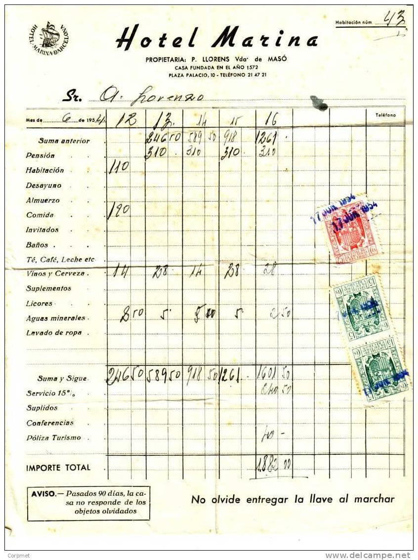 ESPAÑA - SPAIN - Factura De 1954 Del HOTEL MARINA De BARCELONA - Sellos Fiscales - Fiscales
