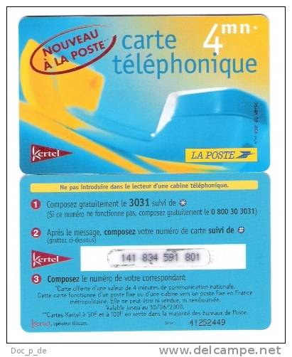 France - Frankreich - Kertel - La Poste - 4mn - Promo Card - Limite Date: 30.06.2000 - Frankreich