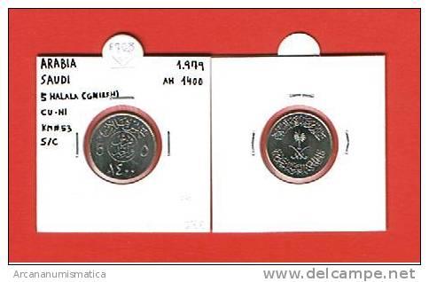 ARABIA SAUDI  5 HALALA (GNIRSH)  CU NI  KM#53  1979  AH 1400  SC/UNC        DL-6716 - Arabia Saudita
