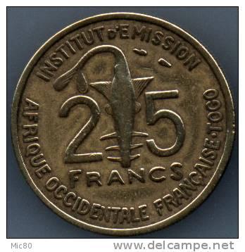25 F Afrique Occidentale Française TOGO 1957 Ttb - Togo