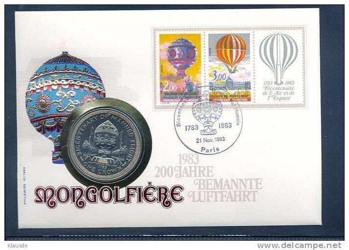 Mongolfiere 1983 Insel Man J 116 375 CuNi. - Regionale Währungen