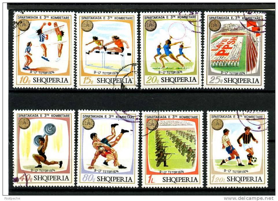 ALBANIE  1974         3° SPARTAKIADE                N° 1545  / 1552 OBL       Référence N° 5312 - Football