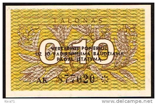 """0,10 Talonas    """"LITUANIE """"     1991  UNC      Bc122 - Lituanie"""