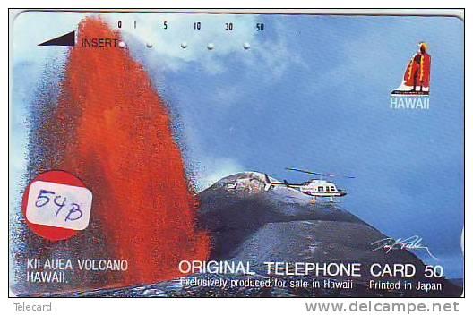 Télécarte Japon HAWAII Related (54b) VULCANO * HELICOPTERE *  Telefonkarte *  Phonecard HAWAII Related - Volcans