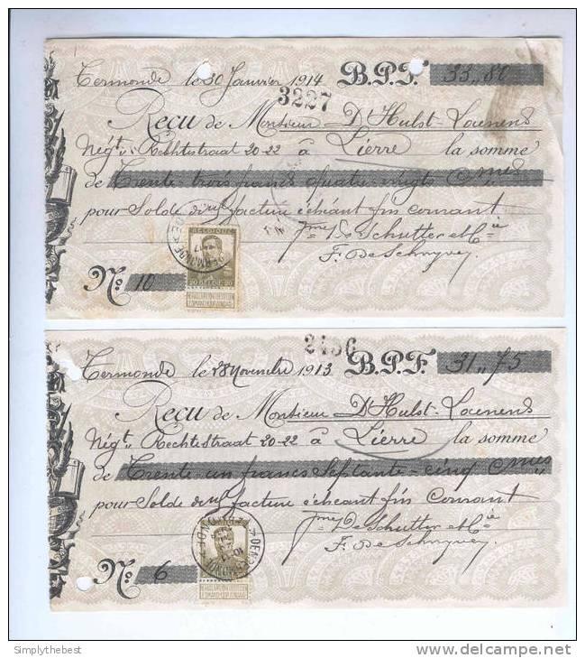 4 X Reçu TP Pellens Divers DENDERMONDE TERMONDE 1913 / 1914 Vers LIERRE .  -- 10/684 - 1912 Pellens
