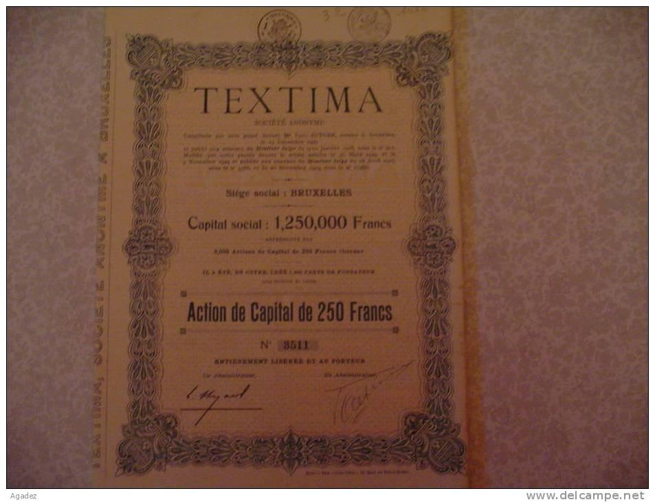"""""""Textima"""" Action De Capital 20 Novembre 1929 Bruxelles Bonneterie - Textile"""