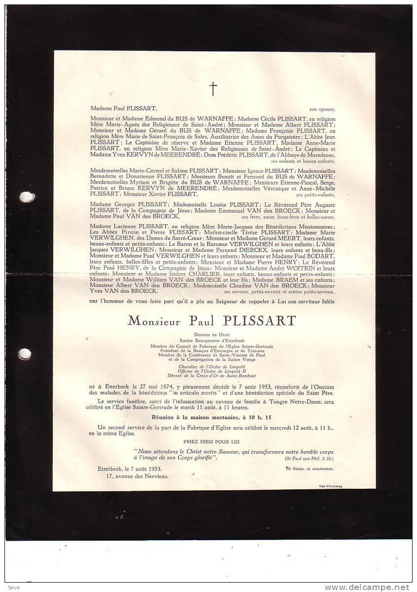 ETTERBEEK TONGRE NOTRE DAME Bourgmestre Paul PLISSART 1874-1953 Faire-part Décès - Faire-part
