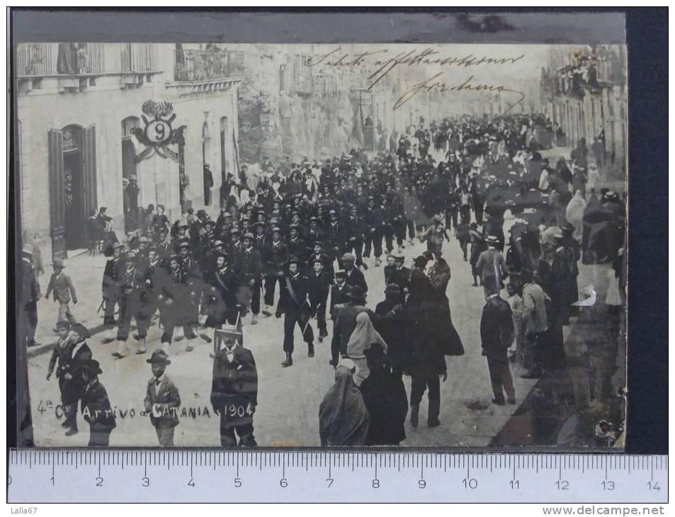 """SICILIA -CATANIA - """"4 C ARRICO A CATANIA 1904""""        N. 3601 (RIFILATA E FORATA) - Catania"""