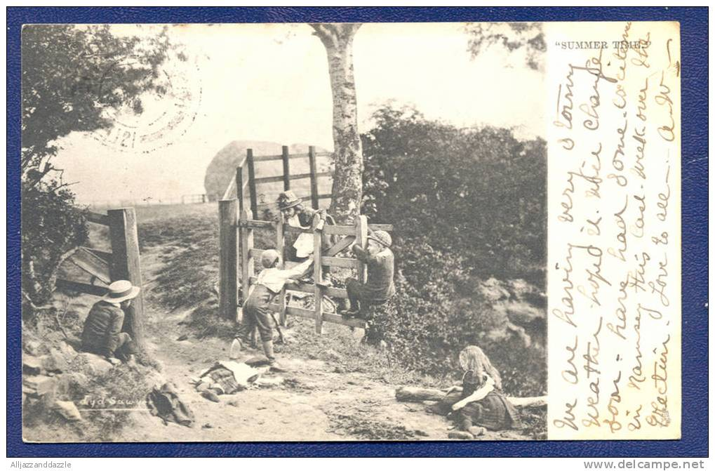 """Children Playing, """"Summer Time"""", Tuck's 898 Artist Signed By Lyddell Sawyer - Undivided Back, 1903 - Illustrators & Photographers"""
