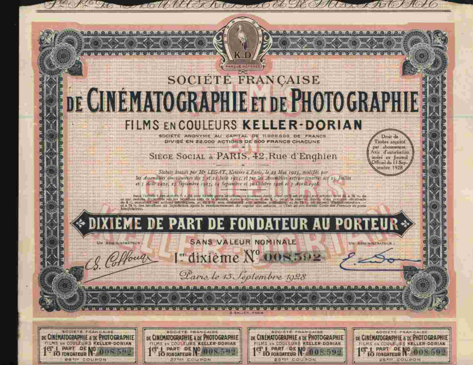 CINEMA : STE FCE DE CINEMATOGRAPHIE & DE PHOTOGRAPHIE (KELLER DORIAN) - Azioni & Titoli