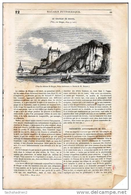 76. Vue Du Château De Dieppe. 1845 - Vieux Papiers