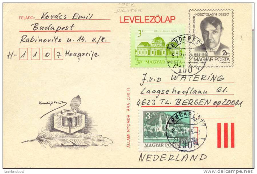 Hungary Postal Stationary 1987 Uprated Poet (E1014) - Schrijvers