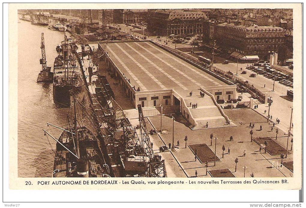 cpa port autonome de bordeaux les quais et les nouvelles terrasses des quinconces delce net